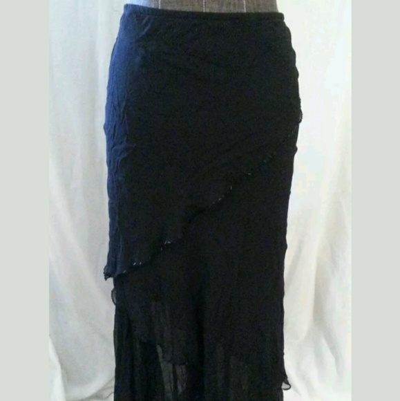 Cache Dresses & Skirts - Cache Size Small Black Asymmetrical Layered Skirt